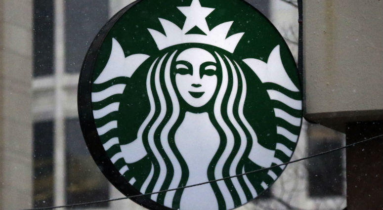 This March 14, 2017, file photo show the Starbucks logo on a shop in downtown Pittsburgh.