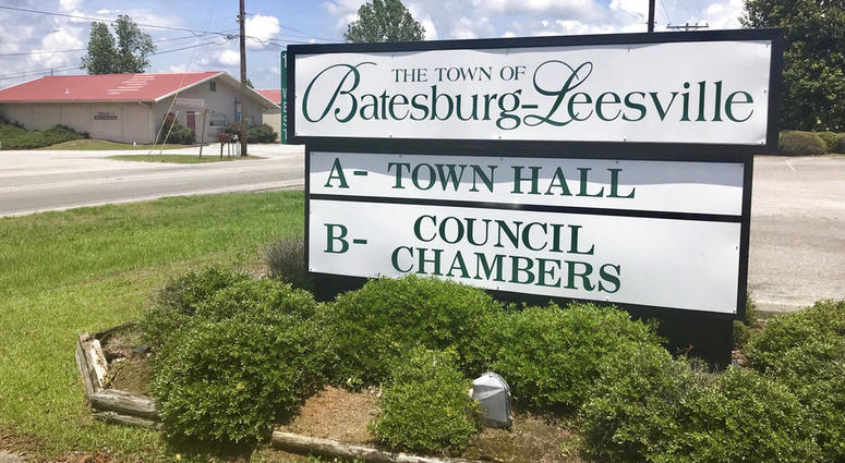 A sign in the town of Batesburg-Leesville, S.C. A group is trying to put up a memorial in the town to decorated African-American World War II veteran Sgt. Isaac Woodard, who was beaten and blinded by a white police chief in Batesburg-Leesville in 1946.
