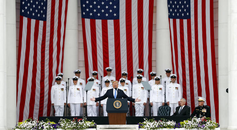 President Donald Trump speaks at the Memorial Amphitheater in Arlington National Cemetery on Memorial Day.