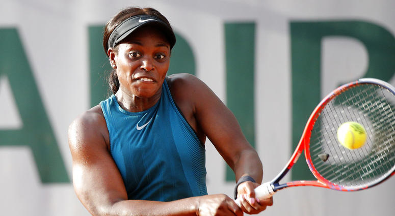 Sloane Stephens of the U.S. returns a shot against Poland's Magdalena Frech during their second round match of the French Open tennis tournament at the Roland Garros stadium in Paris.