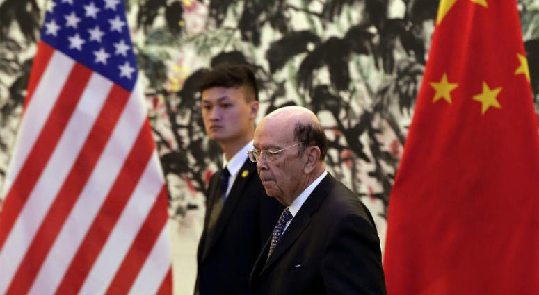 U.S. Commerce Secretary Wilbur Ross arrives to the Diaoyutai State Guesthouse to attend a meeting with Chinese Vice Premier Liu He in Beijing, Sunday, June 3, 2018.
