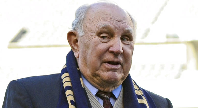 In this April 10, 2010, file photo, Walter Bahr, the last living member of the U.S. soccer team that upset England at the 1950 World Cup, speaks before an MLS soccer game between D.C. United and the Philadelphia Union, in Philadelphia.