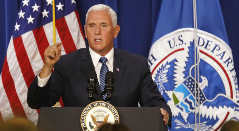 ice President Mike Pence speaks at U.S. Immigration and Customs Enforcement (ICE), at ICE headquarters, Friday, July 6, 2018, in Washington.