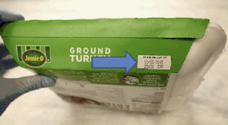 This image provided by Hormel Foods Corporation shows the production code information on the side of the sleeve of Jennie-O-Turkey that is being recalled.