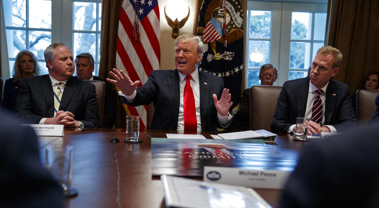 Acting Secretary of the Interior David Bernhardt, left, and acting Secretary of Defense Patrick Shanahan, right, listen as President Donald Trump speaks during a cabinet meeting at the White House, Wednesday, Jan. 2, 2019, in Washington.