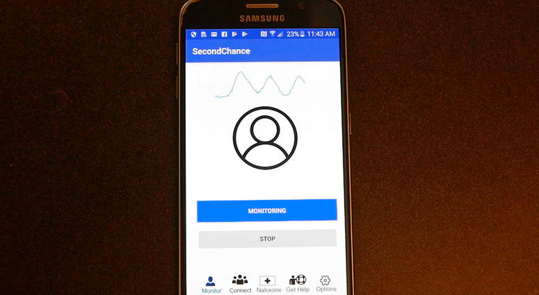 """A demonstration of the smartphone """"Second Chance"""" app, which uses sound waves to measure breathing. In first-step testing reported Jan. 9, 2019, the device detected early breathing problems in some people who'd just injected illegal drugs."""