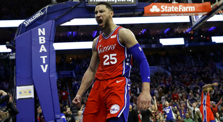 Philadelphia 76ers' Ben Simmons reacts after being fouled during the second half of the team's NBA basketball game against the Denver Nuggets, Friday, Feb. 8, 2019, in Philadelphia.