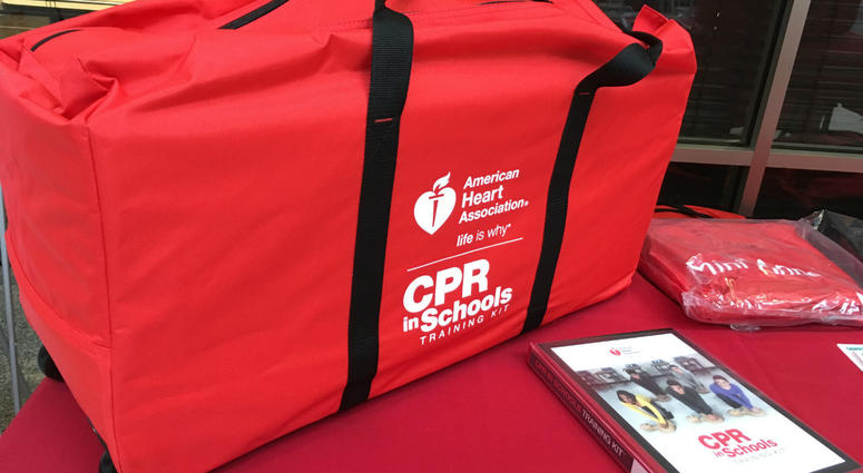 The School District of Philadelphia accepted the donation of 13 CPR education kits from the American Heart Association.