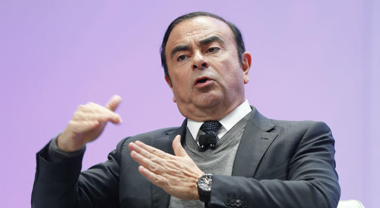 Carlos Ghosn, Chairman of the Board and Chief Executive Officer of Nissan Motor Co., Ltd., speaks at the North American International Auto Show in Detroit.