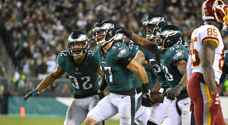 Philadelphia Eagles linebacker Nate Gerry (47) celebrates his interception against the Washington Redskins during the fourth quarter at Lincoln Financial Field.