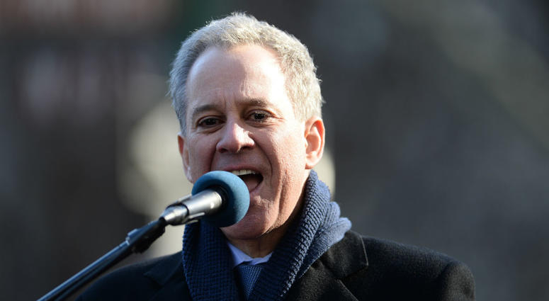 As New York's attorney general, Eric Schneiderman spoke before the start of the 2018 Women's March in New York, NY, on January 20, 2018.
