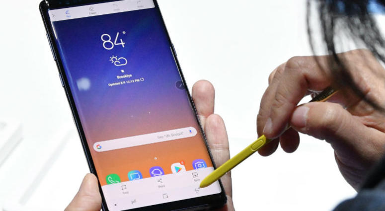 A Samsung Galaxy Note9 and S Pen on display during Samsung Unpacked New York City at Barclays Center on August 9, 2018 in Brooklyn City.