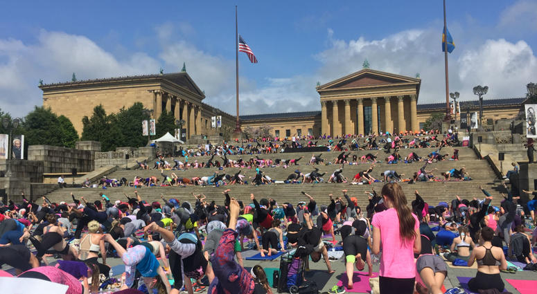 Living Beyond Breast Cancer's hosted its annual Reach & Raise event, which brings thousands of survivors, fighters and supporters together for a morning of mediation and yoga on the steps of the museum.