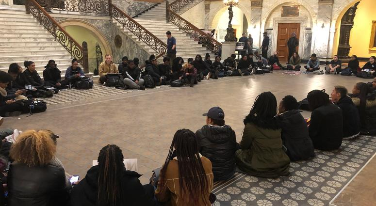 Students sit in solidarity after racial slur appears in Drexel dorm