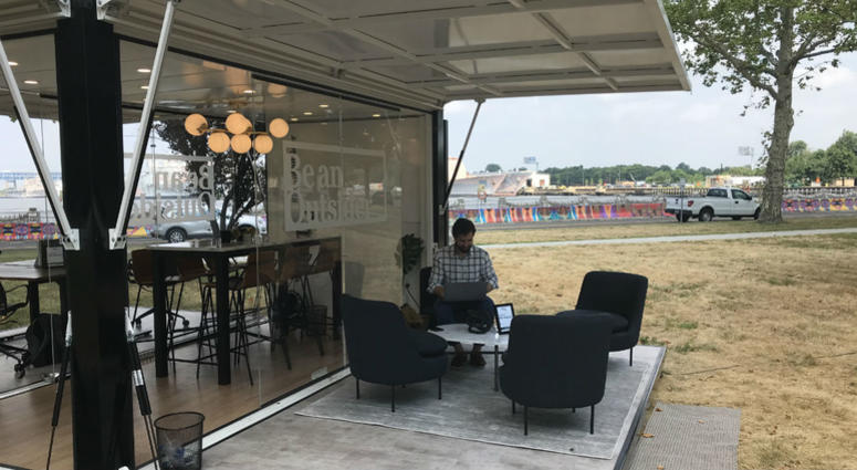 outdoor office space google l bean has set up temporary outdoor office space in philadelphias navy breath of fresh air ll looks to bring your desk job outdoors