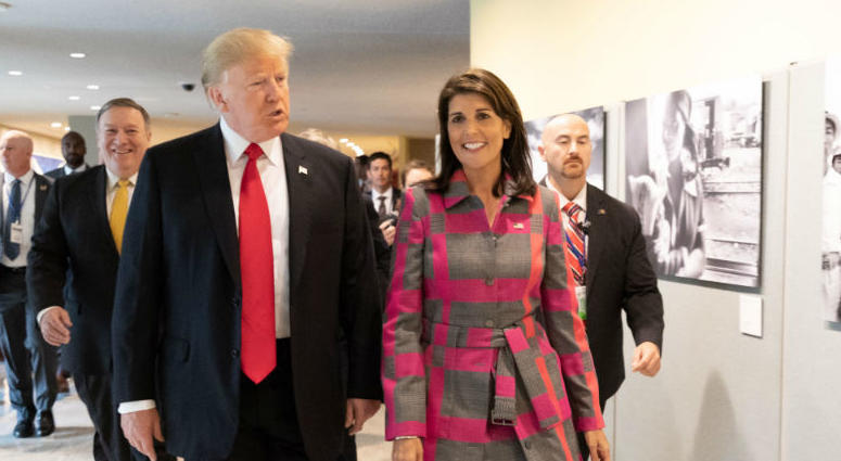 President Donald J. Trump and U.N. Ambassador Nikki Haley arrive Monday Sept. 24 2018 to the United Nations Headquarters in New York City