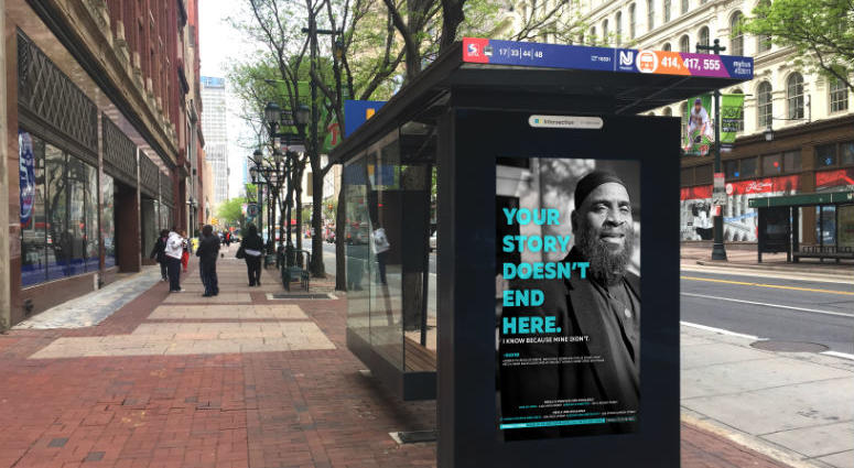 Photos and messages of formerly homeless people will appear in ads posted on 70 transit shelters throughout Center City, as part of Project HOME and Center City District's new homeless outreach campaign.