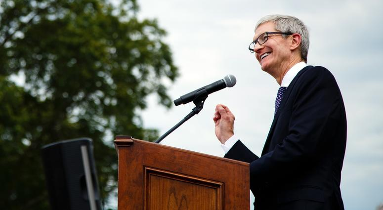 Apple ceo Tim Cook announces the company's plans for its $1.375 billion data center in Waukee. Mandatory credit: Brian Powers/The Register via USA TODAY NETWORK