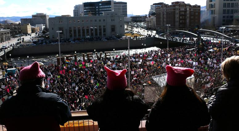 Thousands take part in the Women's March in Reno.