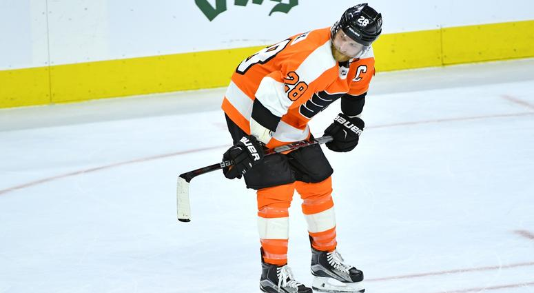 Apr 22, 2018; Philadelphia, PA, USA; Philadelphia Flyers center Claude Giroux (28) skates on the ice after the end of the game against the Pittsburgh Penguins in game six of the first round of the 2018 Stanley Cup Playoffs at Wells Fargo Center.