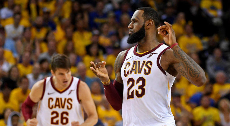Cleveland Cavaliers forward LeBron James (23) reacts after a play during the fourth quarter against the Golden State Warriors in game two of the 2018 NBA Finals at Oracle Arena.