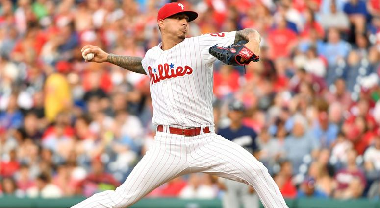 Philadelphia Phillies starting pitcher Vince Velasquez (28) throws a pitch during the second inning against the Milwaukee Brewers at Citizens Bank Park.