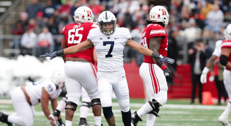 Nov 17, 2018; Piscataway, NJ, USA; Penn State Nittany Lions linebacker Koa Farmer (7) celebrates after an incomplete pass during the first half against the Rutgers Scarlet Knights at High Point Solutions Stadium.