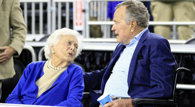 Mar 29, 2015; Houston, TX, USA; United States former president George H.W. Bush and wife Barbara Bush in attendance before the finals of the south regional of the 2015 NCAA Tournament between the Duke Blue Devils and Gonzaga Bulldogs at Reliant Stadium.