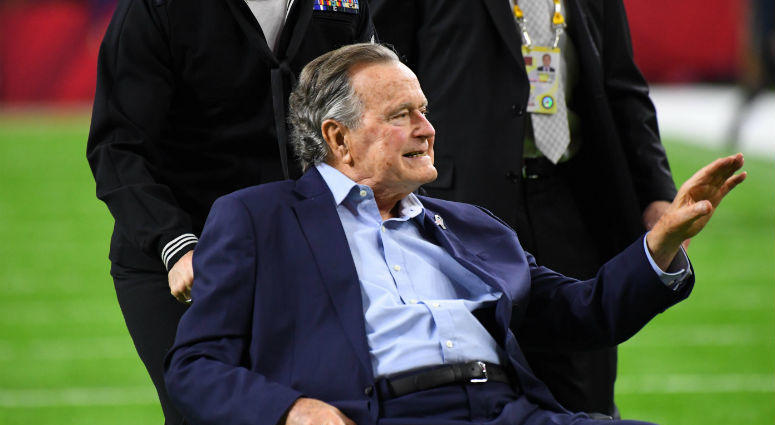 Feb 5, 2017; Houston, TX, USA; President George H. W. Bush prior to Super Bowl LI at NRG Stadium.