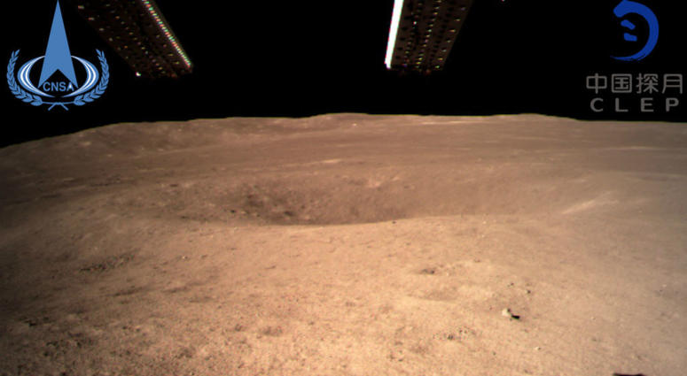 In this photo provided Jan. 3, 2019, by China National Space Administration via Xinhua News Agency, the first image of the moon's far side taken by China's Chang'e-4 probe.