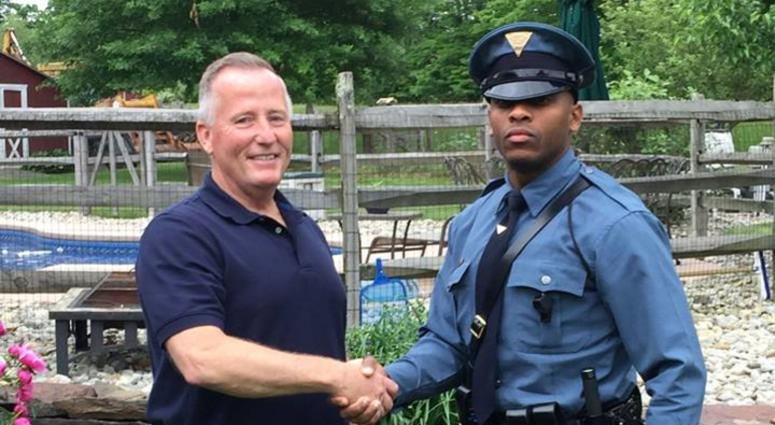 Trooper Michael Patterson pulled over Matthew Bailly, who turned out to be the retired officer who helped deliver him 27 years ago.