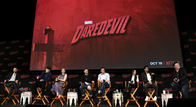 Actors Charlie Cox, Vincent D'Onofrio, Deborah Ann Woll, Elden Henson, Wilson Bethel, Joanne Whalley, Jay Ali and television writer Erik Oleson speak onstage at Marvel's DAREDEVIL panel during New York Comic Con.