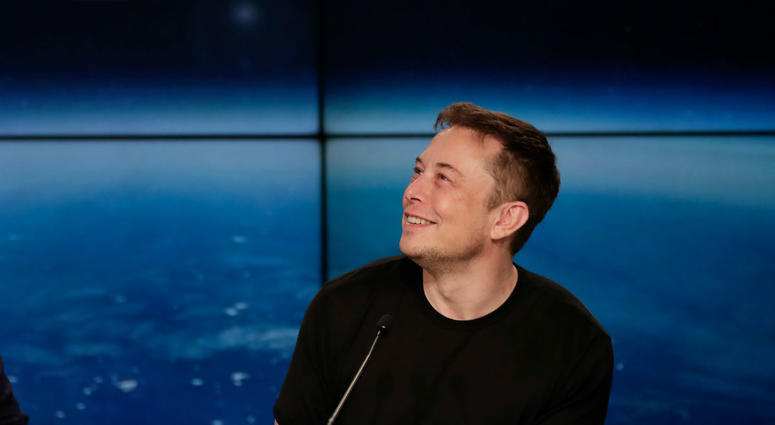 In this Feb. 6, 2018, file photo, Elon Musk, founder, CEO, and lead designer of SpaceX, speaks at a news conference from the Kennedy Space Center in Cape Canaveral, Fla.
