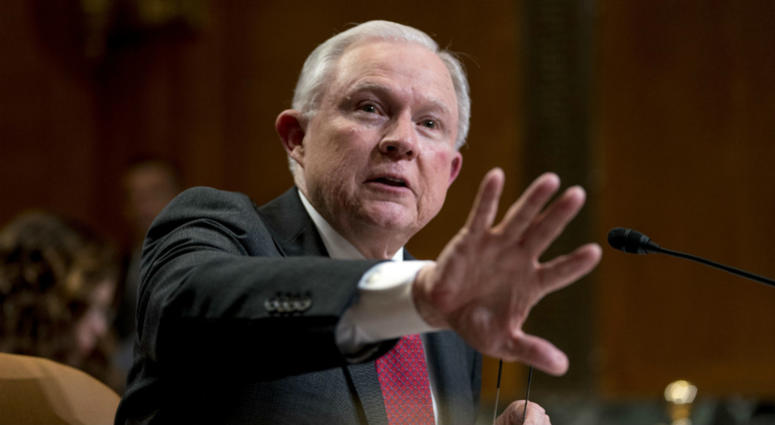 In this April 25, 2018, file photo, Attorney General Jeff Sessions speaks on Capitol Hill in Washington.