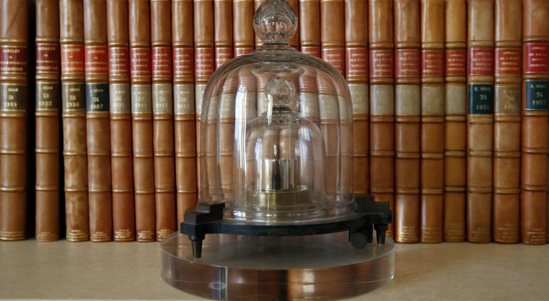 A replica of the International Prototype Kilogram is pictured at the International Bureau of Weights and Measures, in Sevres, near Paris.