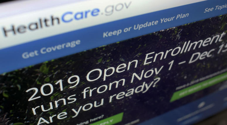 This Oct. 23, 2018 file photo shows HealthCare.gov website on a computer screen in New York.