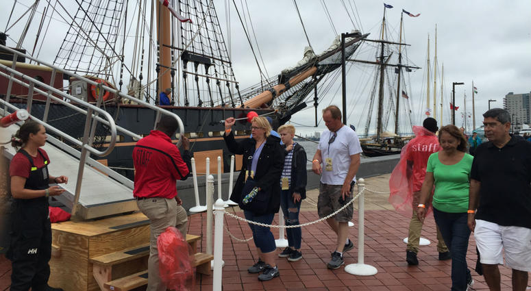 The weather didn't dampen the spirits of people celebrating Memorial Day at Penn's Landing.
