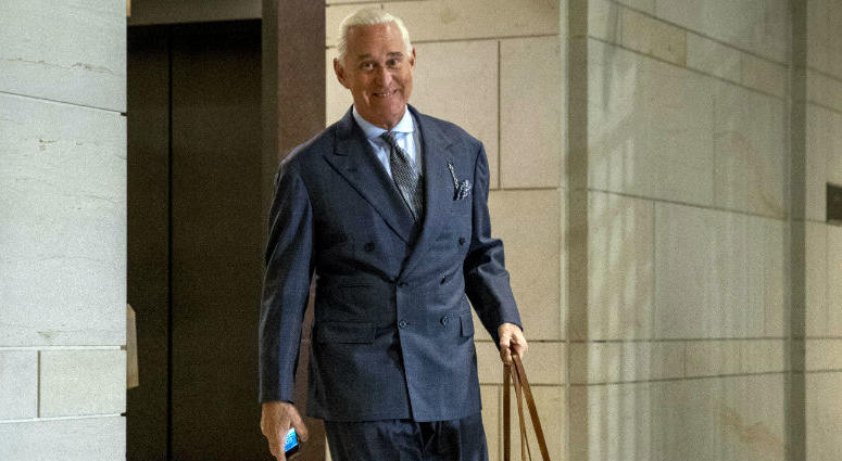 Longtime Donald Trump associate Roger Stone arrives to testify before the House Intelligence Committee, on Capitol Hill in Washington.