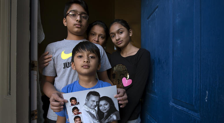 Syed Jamal (in photograph), the father of Fareed, 7; Taseen (top left), 14; Naheen, 12; and husband of Angela Jamal; has been detained by Immigration and Customs Enforcement agents for possible deportation back to his native Bangladesh.