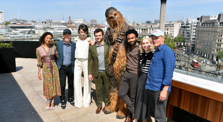 Star Wars cast and crew (left to right) Thandie Newton, Ron Howard, Phoebe Waller-Bridge, Alden Ehrenreich, Chewbacca, Donald Glover, Emilia Clarke and Woody Harrelson attending the photocall for Solo: A Star Wars Story at The Trafalgar St. James, London.