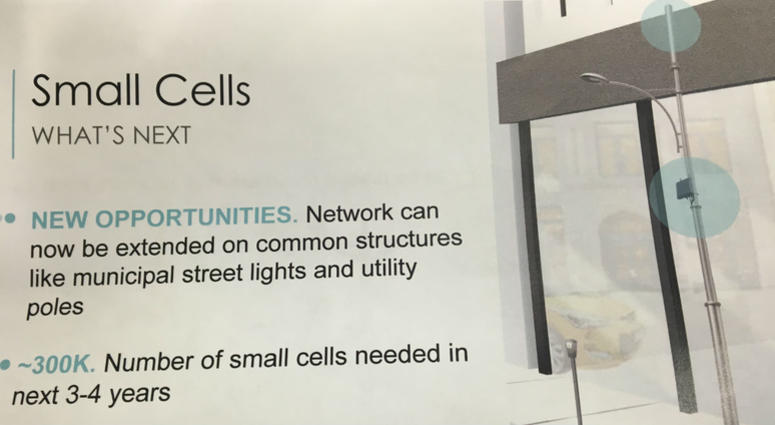 This graphic provided by wireless industry officials depicts a small cell deployed on a street light