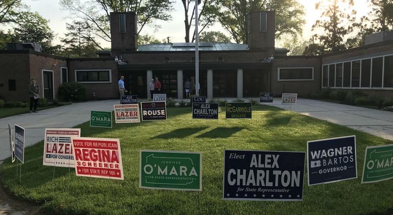 Voters get an early start on Primary Day at the Springfield Township building