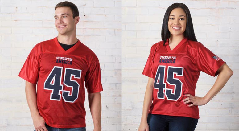"The jersey, sold on the president's campaign website for $99, says ""STAND UP FOR AMERICA"" on the front, along with Trump's name on the back, the number 45, and an American flag patch on the sleeve."