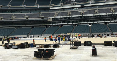 """Crews at Lincoln Financial Field are putting down the foundation for the Flyers' outdoor """"Stadium Series"""" game against Pittsburgh on Feb. 23."""