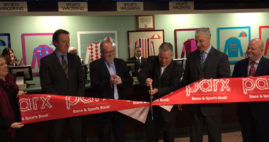 The ribbon was cut at the Turf Club as it joins Parx in Bensalem and SugarHouse as places to legally make sports bets.