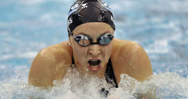 In this Dec. 6, 2008, file photo, Ariana Kukors swims to win the Women's 200-yard breaststroke finals during the 2008 USA Swimming Short Course National Championships at the Georgia Tech Aquatic Center in Atlanta.