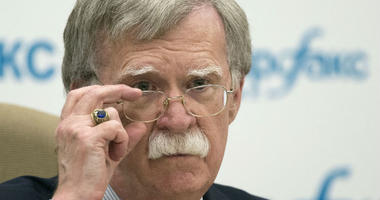 U.S. National security adviser John Bolton listens to question as speaks to the media after his talks with Russian President Vladimir Putin in Moscow, Russia.