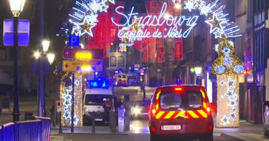 Emergency services arrive on the scene of a Christmas market in Strasbourg, France.