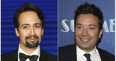 "This combination photo shows actor Lin-Manuel Miranda at the ""Mary Poppins Returns"" premiere in London on Dec. 12, 2018, left, and TV late night host Jimmy Fallon at the opening night of ""Summer: The Donna Summer Musical"" in New York on April 23, 2018."