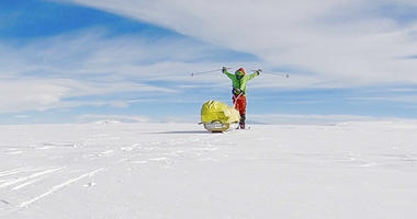 In this photo provided by Colin O'Brady, of Portland., Ore., he poses for a photo while traveling across Antarctica on Wednesday, Dec. 26, 2018.